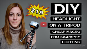 DIY headlight on tripod macro photography lighting