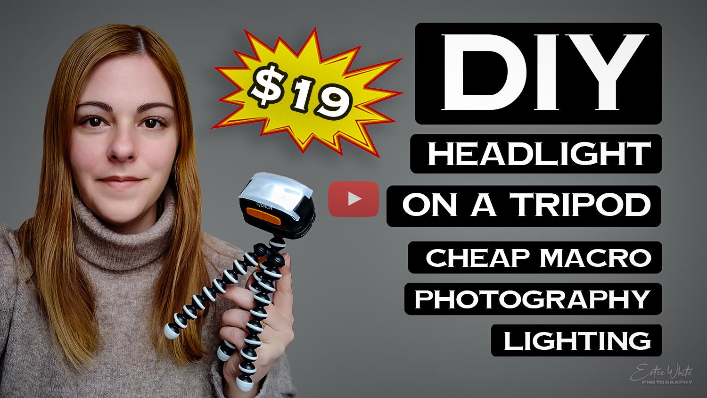 DIY headlight on tripod macro photography lighting