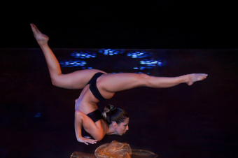 Girl with Veil on Stage Flexible Pose PoleArt pole dance