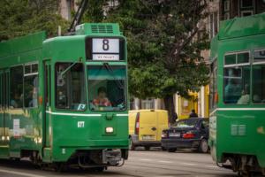 green tram closeup sofia bulgaria