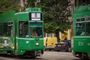 green tram closeup sofia bulgaria