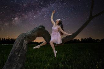 ballerina tree night sky milky way stars moon light composite