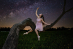 ballerina tree night sky milky way stars moon light composite
