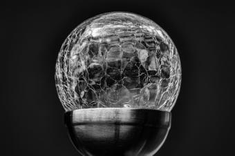 Found Still Life Shattered Cracked Crackle Glass Globe closeup black white art